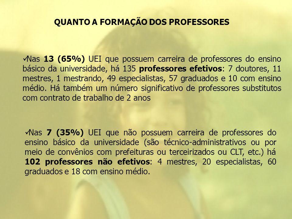 QUANTO A FORMAÇÃO DOS PROFESSORES