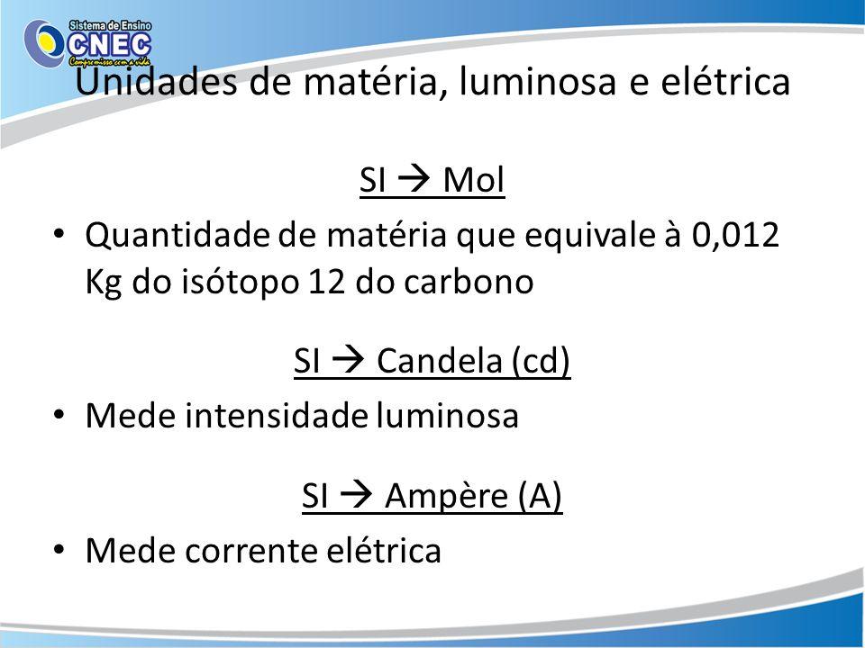 Unidades de matéria, luminosa e elétrica