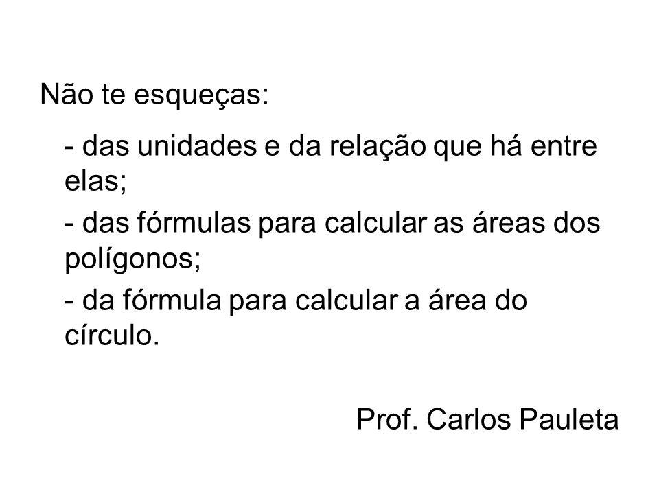 Não te esqueças: - das unidades e da relação que há entre elas; - das fórmulas para calcular as áreas dos polígonos;