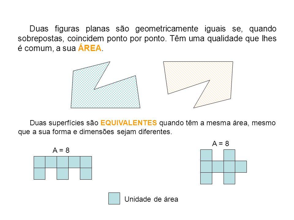 Duas figuras planas são geometricamente iguais se, quando sobrepostas, coincidem ponto por ponto. Têm uma qualidade que lhes é comum, a sua ÁREA.