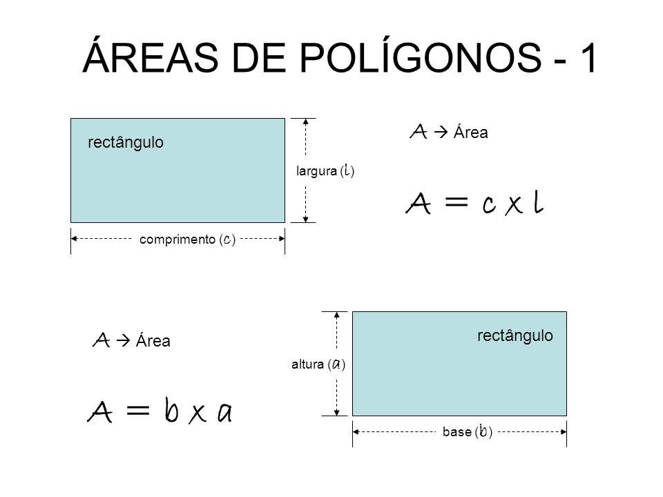 ÁREAS DE POLÍGONOS - 1 A = c x l A = b x a A  Área A  Área