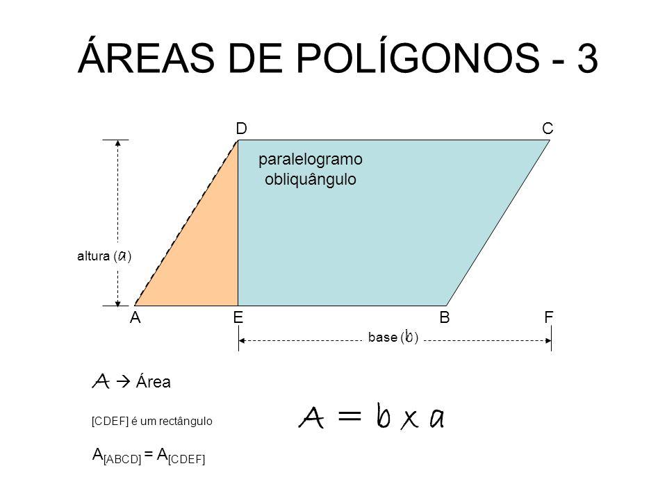 ÁREAS DE POLÍGONOS - 3 A = b x a A  Área D C paralelogramo