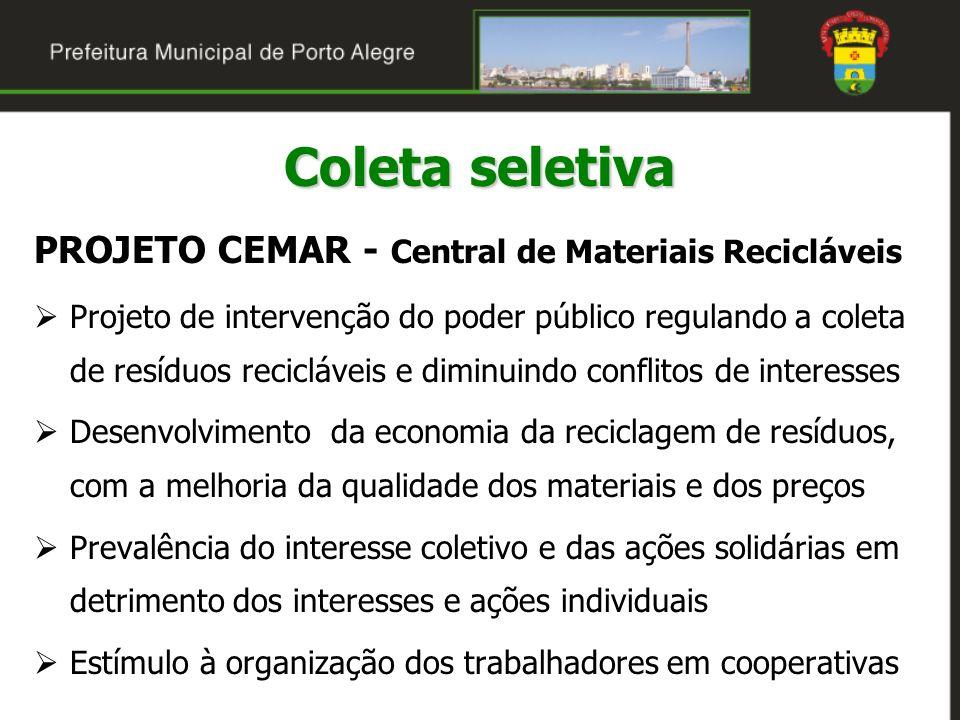 Coleta seletiva PROJETO CEMAR - Central de Materiais Recicláveis