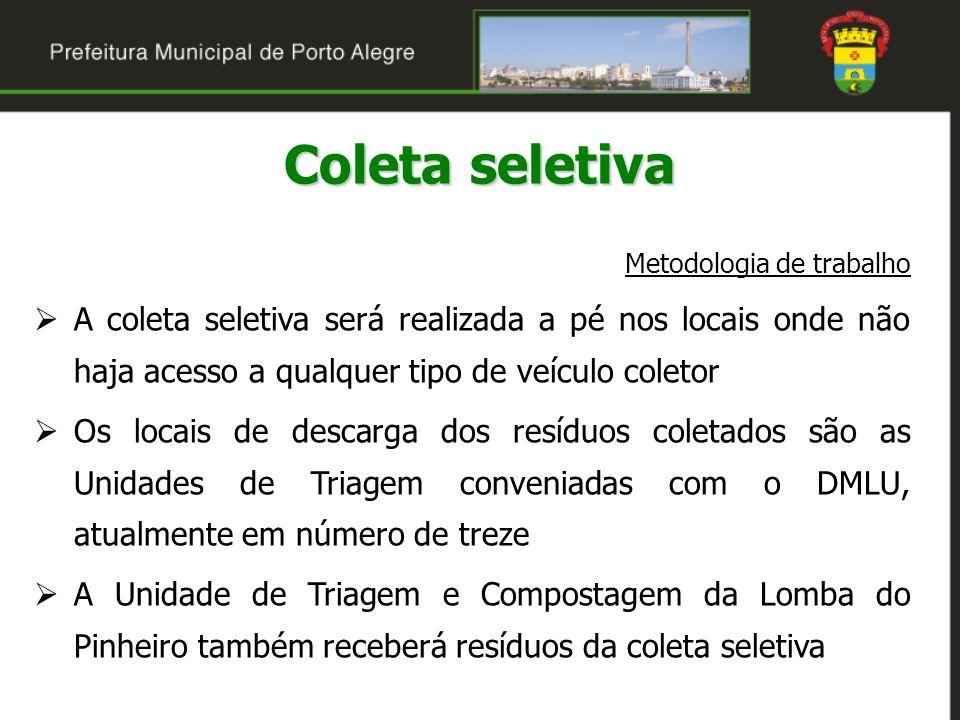 Coleta seletiva Metodologia de trabalho. A coleta seletiva será realizada a pé nos locais onde não haja acesso a qualquer tipo de veículo coletor.
