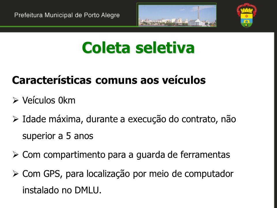 Coleta seletiva Características comuns aos veículos Veículos 0km