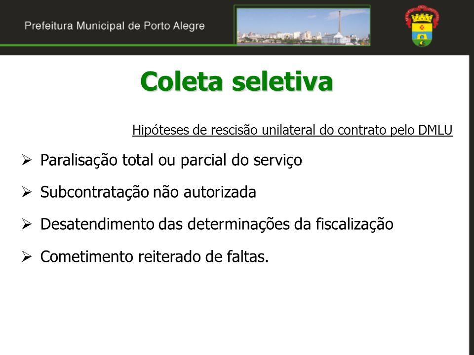 Coleta seletiva Paralisação total ou parcial do serviço