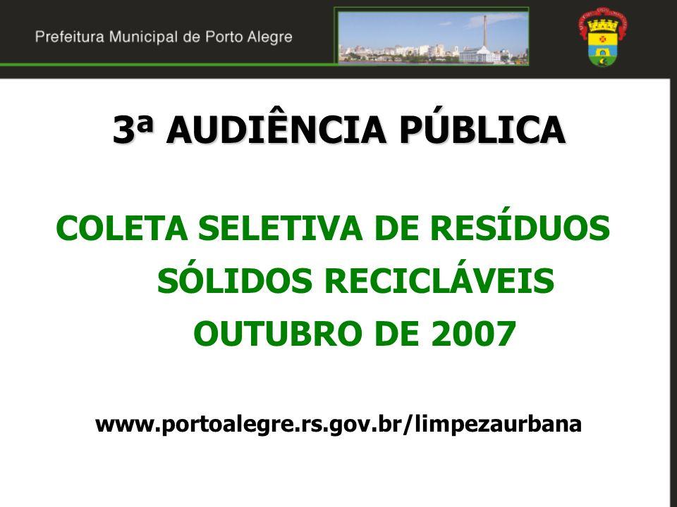 COLETA SELETIVA DE RESÍDUOS SÓLIDOS RECICLÁVEIS OUTUBRO DE 2007