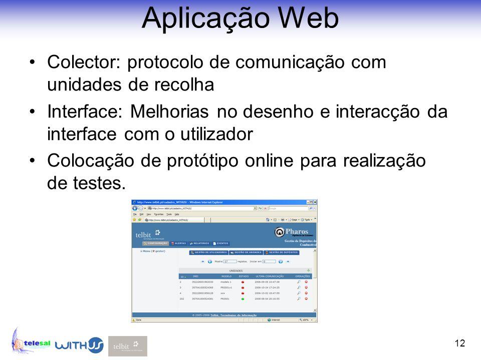 Aplicação Web Colector: protocolo de comunicação com unidades de recolha. Interface: Melhorias no desenho e interacção da interface com o utilizador.