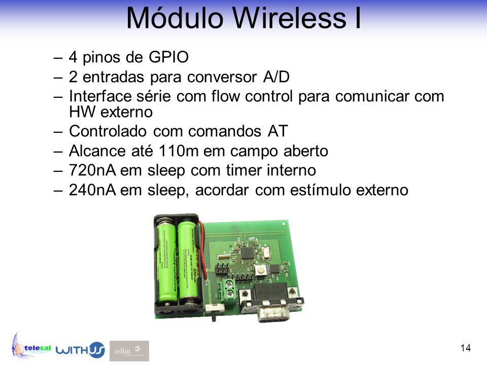 Módulo Wireless I 4 pinos de GPIO 2 entradas para conversor A/D