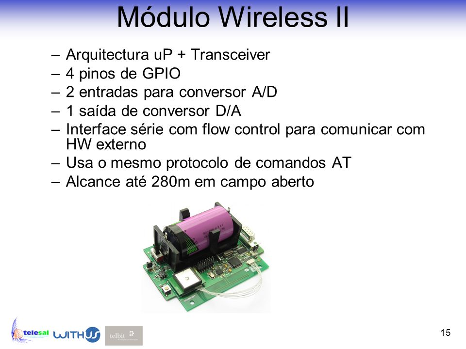 Módulo Wireless II Arquitectura uP + Transceiver 4 pinos de GPIO