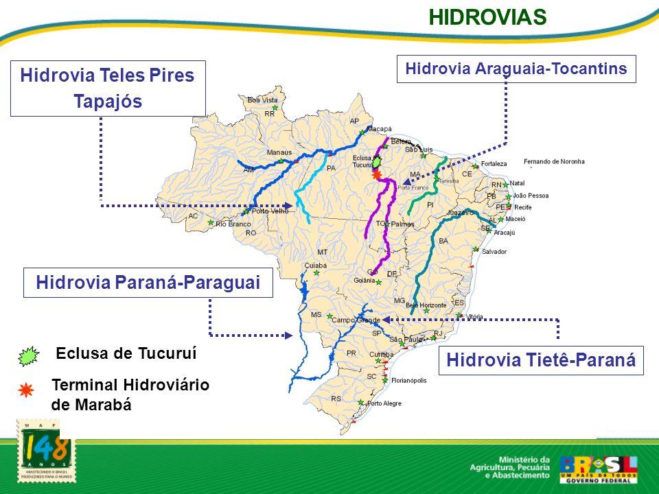 HIDROVIAS Hidrovia Teles Pires Tapajós Hidrovia Paraná-Paraguai
