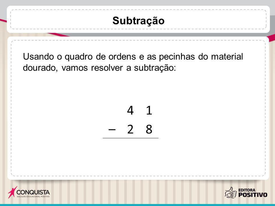 Subtração Usando o quadro de ordens e as pecinhas do material dourado, vamos resolver a subtração: 4.