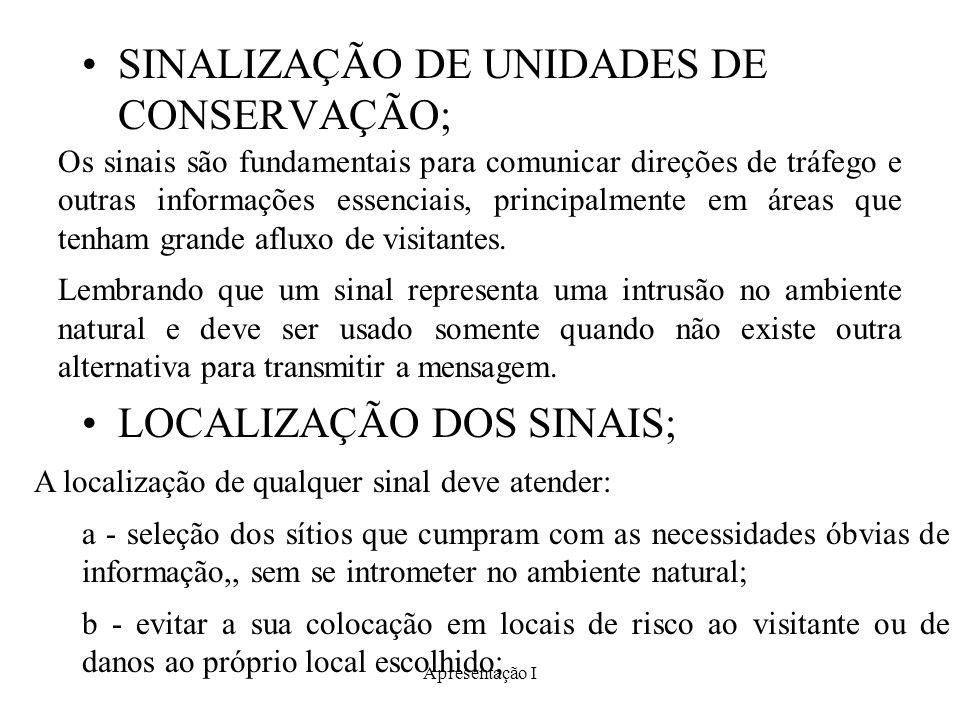 SINALIZAÇÃO DE UNIDADES DE CONSERVAÇÃO;