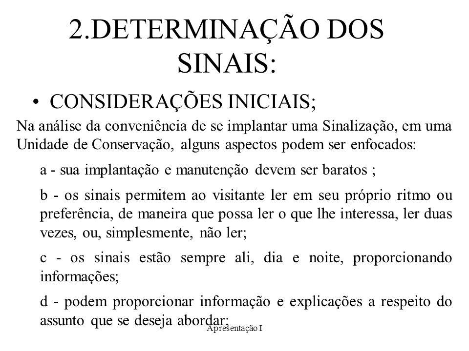 2.DETERMINAÇÃO DOS SINAIS: