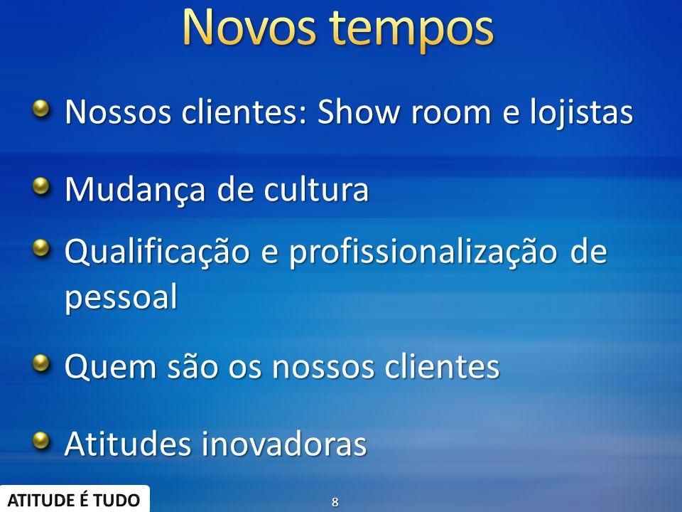 Novos tempos Nossos clientes: Show room e lojistas Mudança de cultura