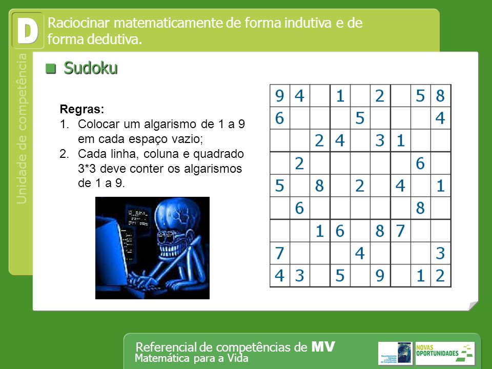 D  Sudoku Raciocinar matematicamente de forma indutiva e de