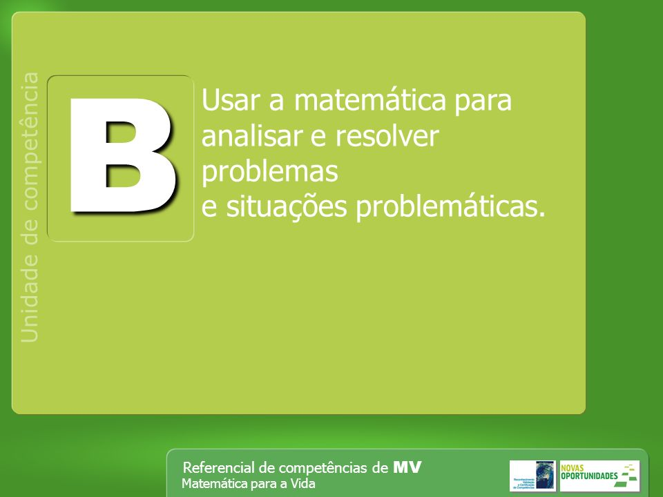B Usar a matemática para analisar e resolver problemas