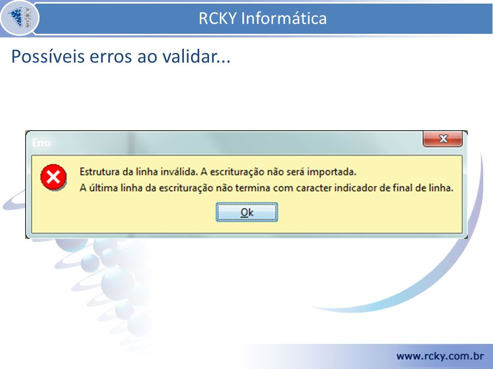 RCKY Informática RCKY Informática Possíveis erros ao validar...