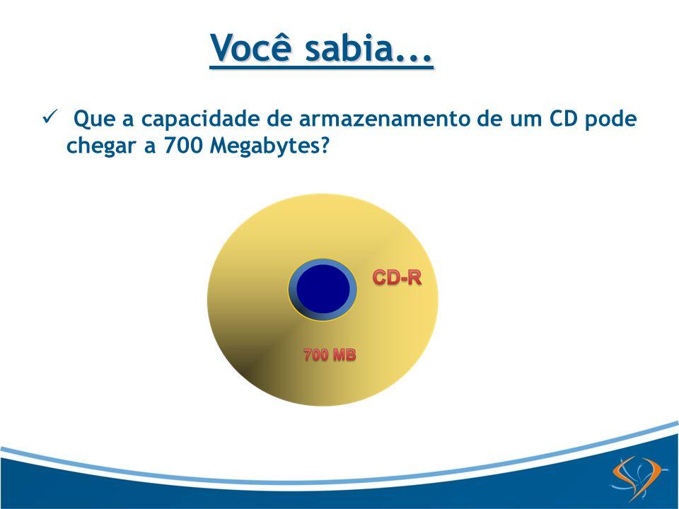 Você sabia... Que a capacidade de armazenamento de um CD pode chegar a 700 Megabytes