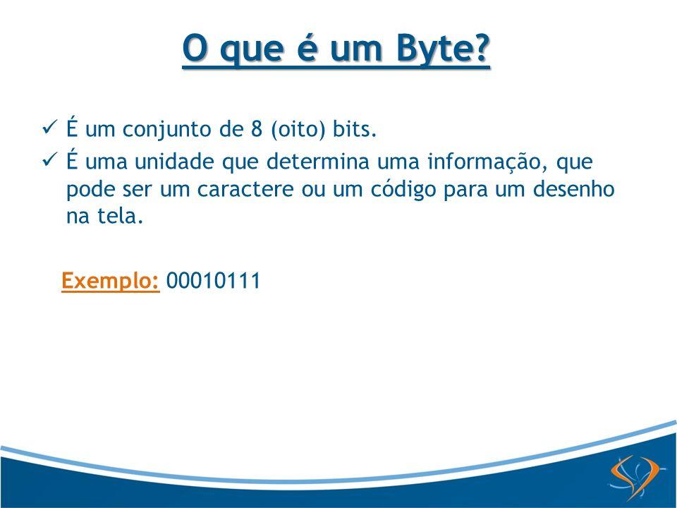 O que é um Byte É um conjunto de 8 (oito) bits.