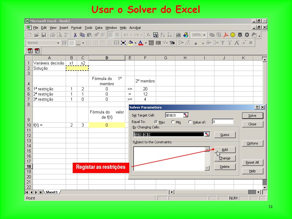 Usar o Solver do Excel Registar as restrições