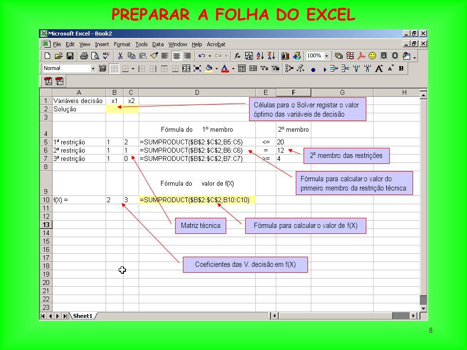 PREPARAR A FOLHA DO EXCEL