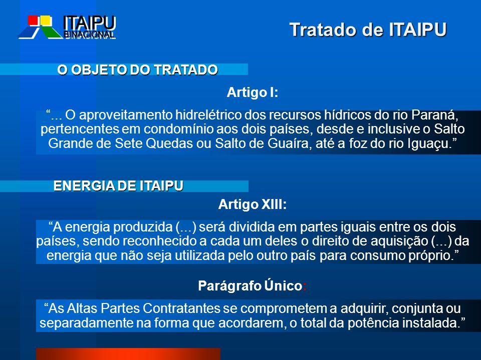 Tratado de ITAIPU O OBJETO DO TRATADO Artigo I: