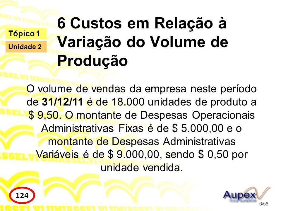 6 Custos em Relação à Variação do Volume de Produção