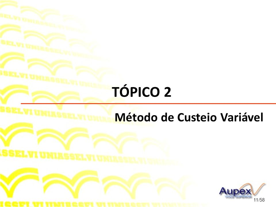 TÓPICO 2 Método de Custeio Variável 11/58