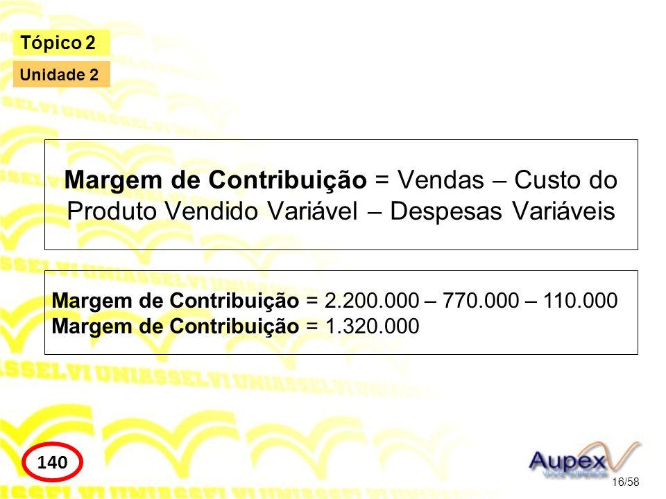 Tópico 2 Unidade 2. Margem de Contribuição = Vendas – Custo do Produto Vendido Variável – Despesas Variáveis.