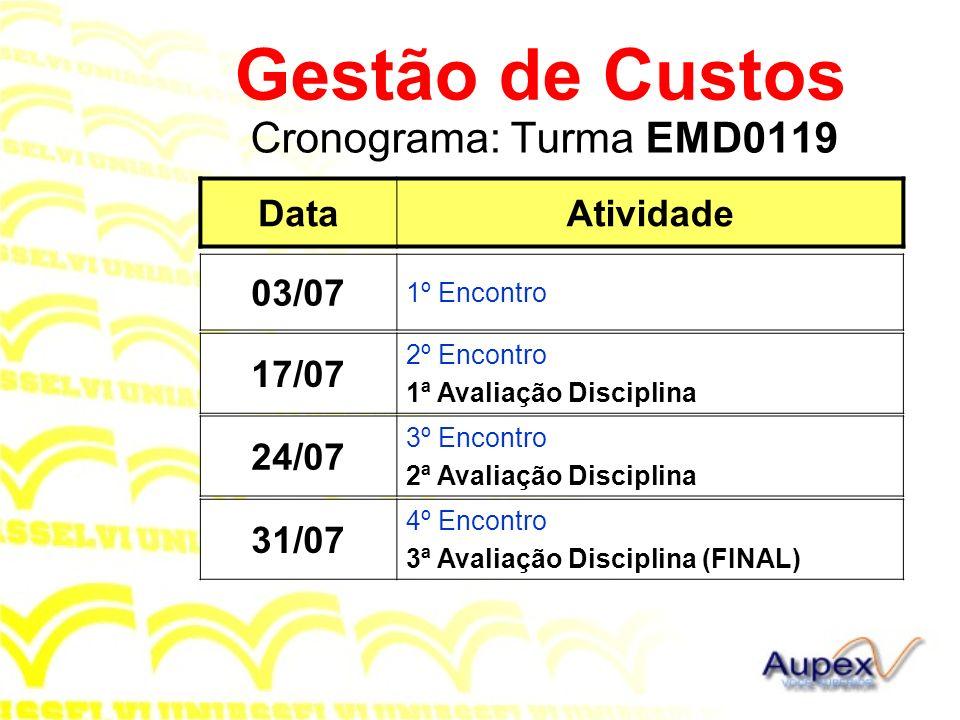 Gestão de Custos Cronograma: Turma EMD0119 Data Atividade 03/07 17/07
