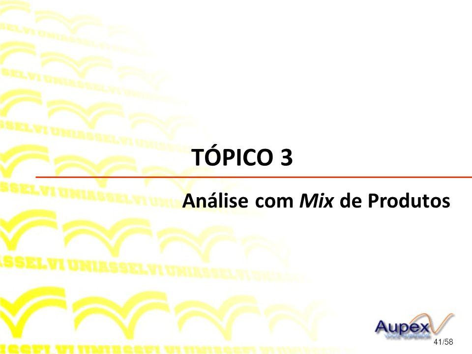 TÓPICO 3 Análise com Mix de Produtos 41/58