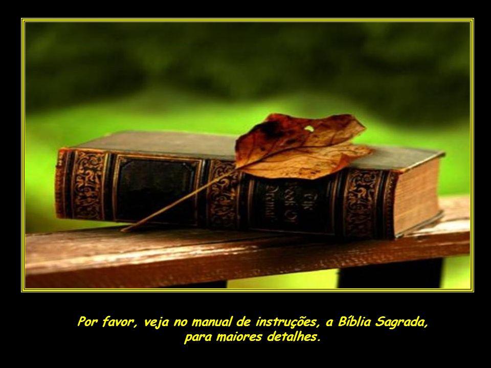 Por favor, veja no manual de instruções, a Bíblia Sagrada,