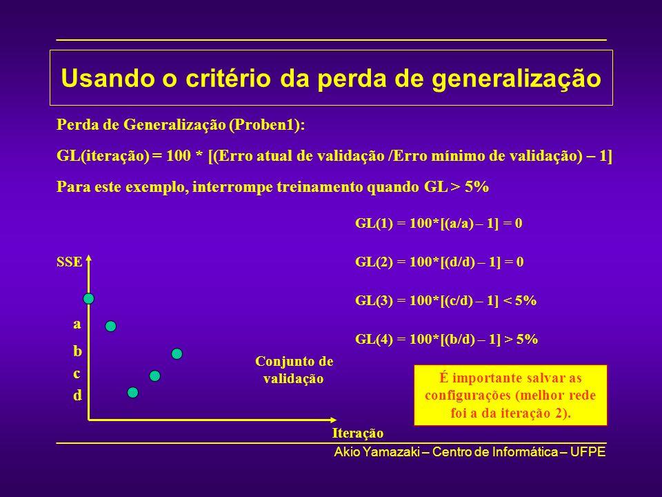 Usando o critério da perda de generalização