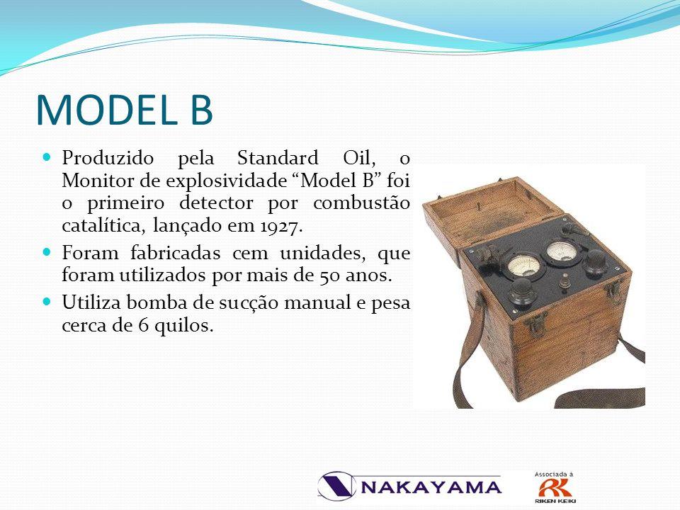 MODEL B Produzido pela Standard Oil, o Monitor de explosividade Model B foi o primeiro detector por combustão catalítica, lançado em 1927.