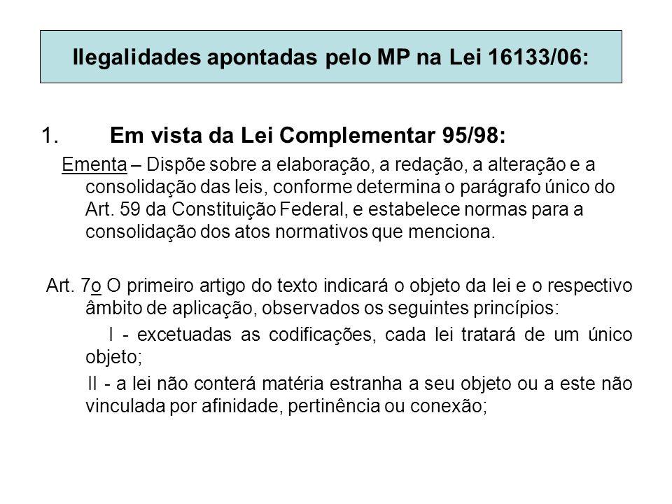 Ilegalidades apontadas pelo MP na Lei 16133/06: