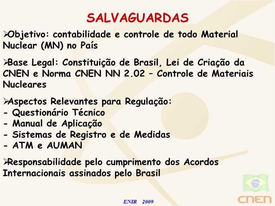 SALVAGUARDAS Objetivo: contabilidade e controle de todo Material Nuclear (MN) no País.