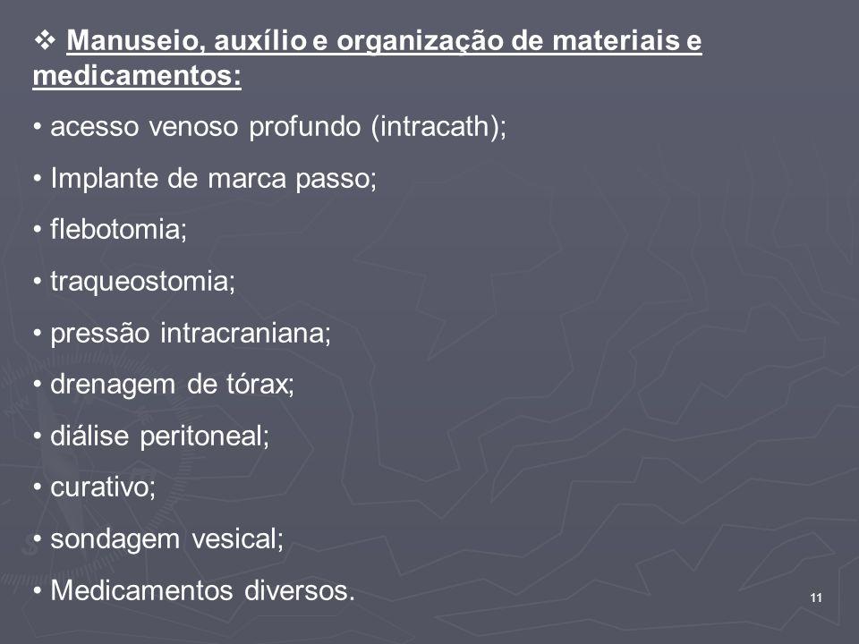 Manuseio, auxílio e organização de materiais e medicamentos: