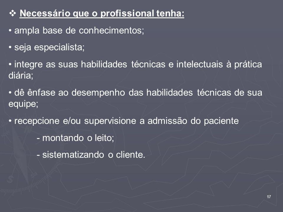 Necessário que o profissional tenha: