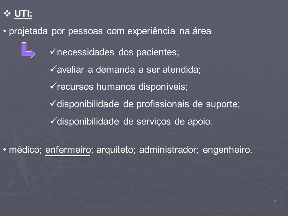 UTI: projetada por pessoas com experiência na área. necessidades dos pacientes; avaliar a demanda a ser atendida;