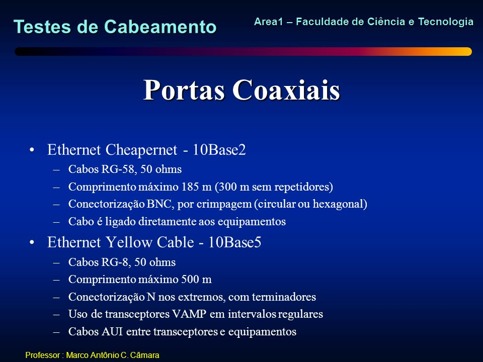 Portas Coaxiais Ethernet Cheapernet - 10Base2