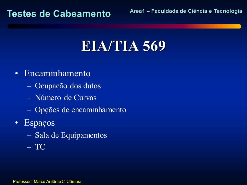 EIA/TIA 569 Encaminhamento Espaços Ocupação dos dutos Número de Curvas