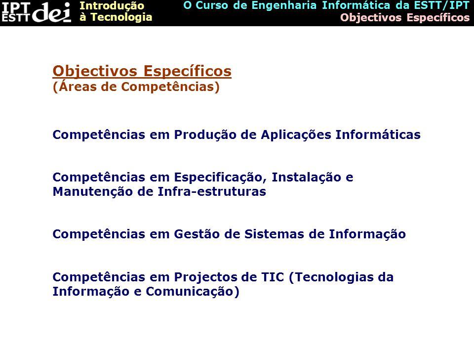 Objectivos Específicos (Áreas de Competências)