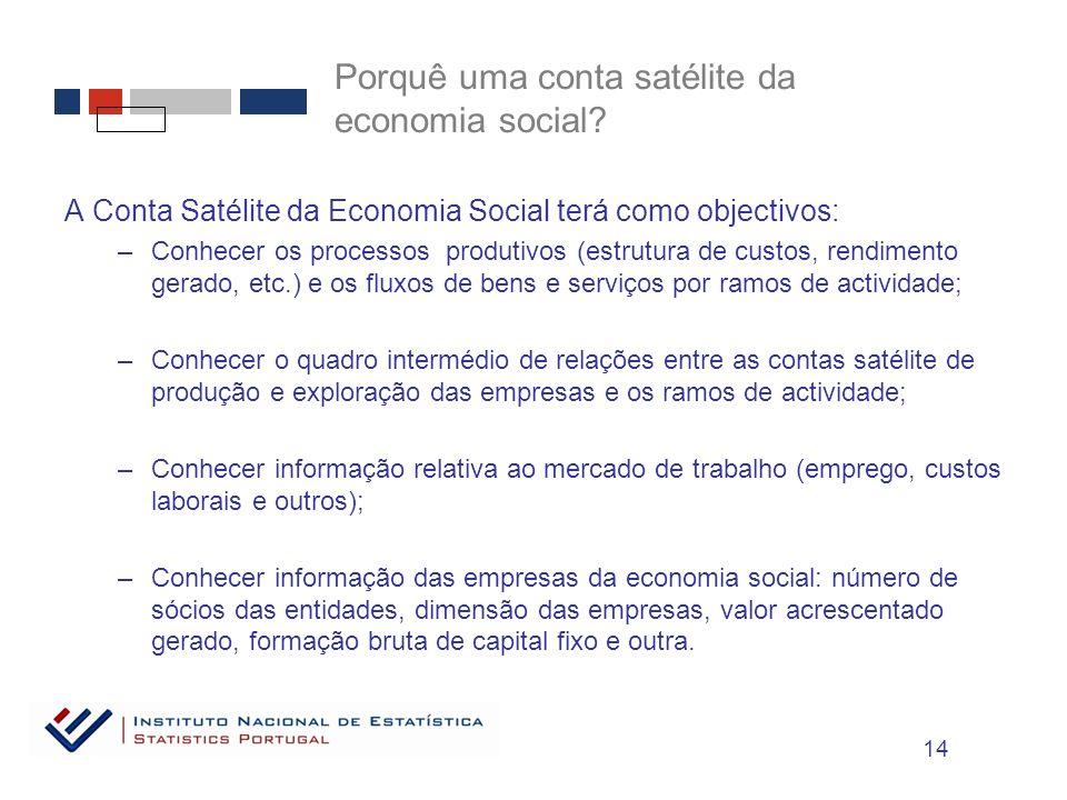Porquê uma conta satélite da economia social