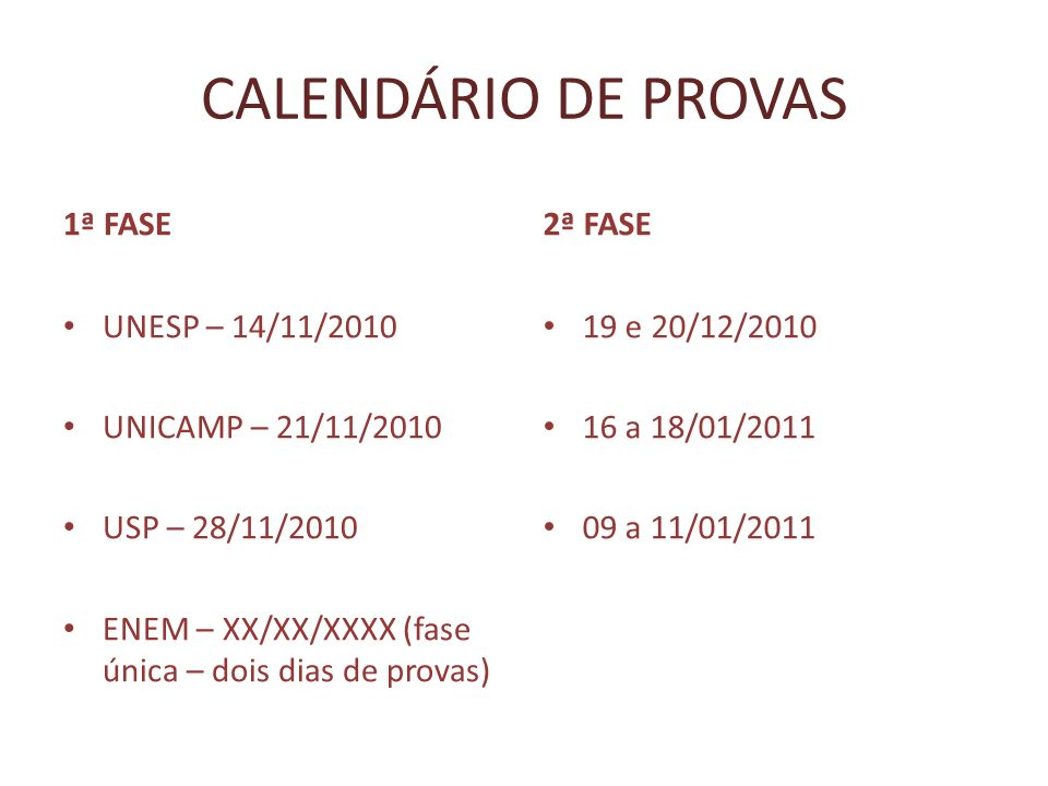 CALENDÁRIO DE PROVAS 1ª FASE 2ª FASE UNESP – 14/11/2010