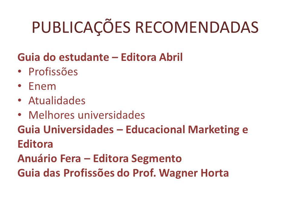 PUBLICAÇÕES RECOMENDADAS