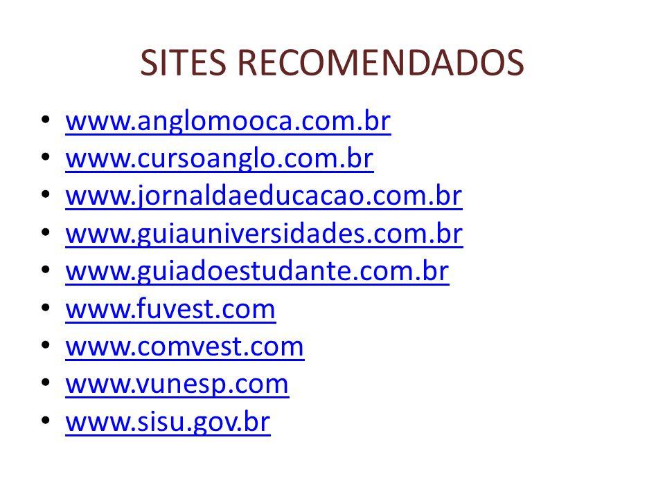 SITES RECOMENDADOS www.anglomooca.com.br www.cursoanglo.com.br