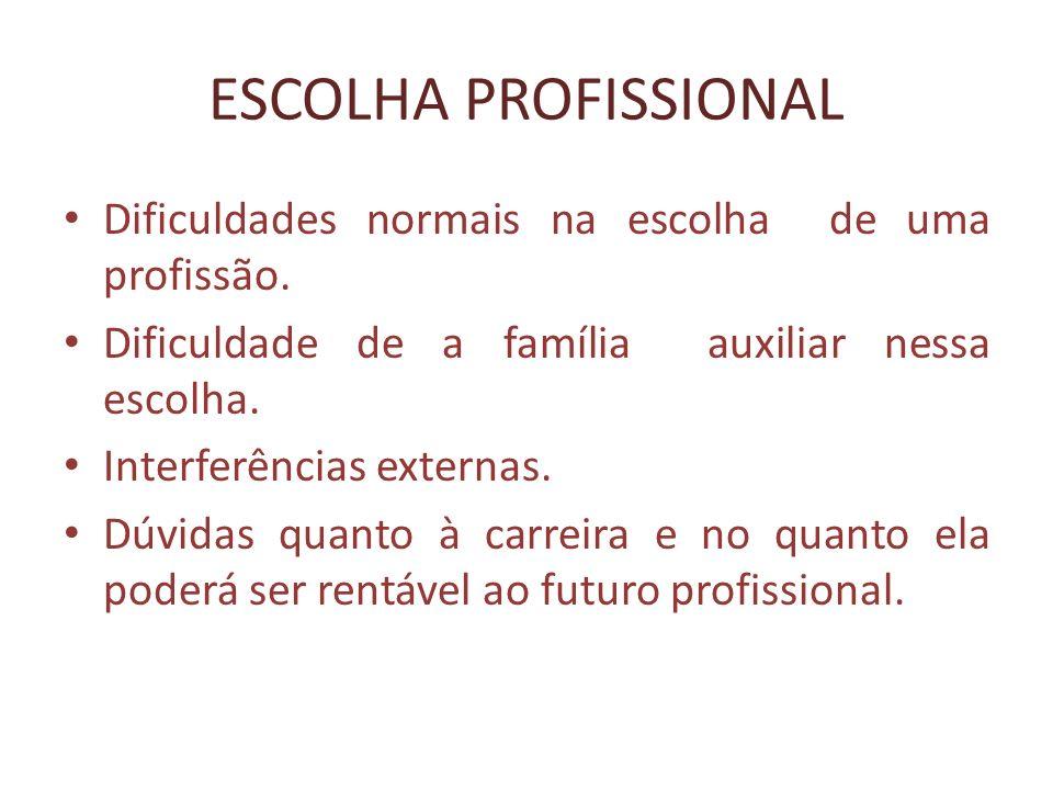 ESCOLHA PROFISSIONAL Dificuldades normais na escolha de uma profissão.