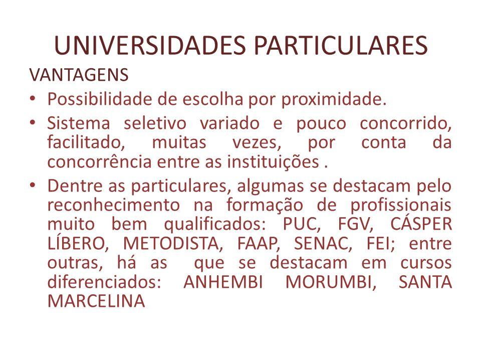 UNIVERSIDADES PARTICULARES