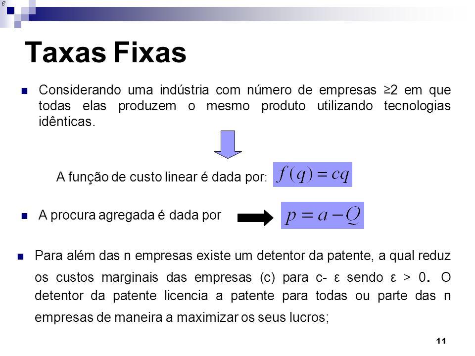 Taxas Fixas Considerando uma indústria com número de empresas ≥2 em que todas elas produzem o mesmo produto utilizando tecnologias idênticas.